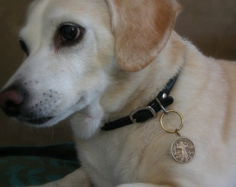 Dog ID Tag - Guardian Angel Necklace - Vintage Brass Pet Tag - Handmade for your Best Friend
