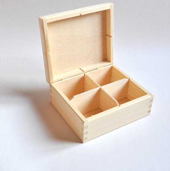 Unfinished Wood Box with 4 compartments Tea Bags Wooden Box
