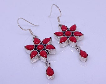 Coral flower drop earrings