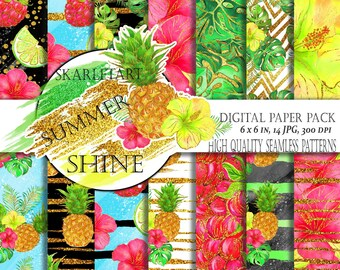 Summer Glittering Paper Pack Hibiscus  Pink Yellow Hibiscus Gliter  Fashion Illustration Tropical Backgrounds Planner Stickers Supplies