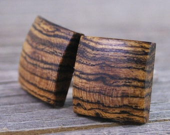 Square Cufflinks - Brazilian Bocote Wood