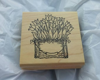 On Sale Flower Basket with  Tulips Ink Stamp for Scrapbooking or Card Making