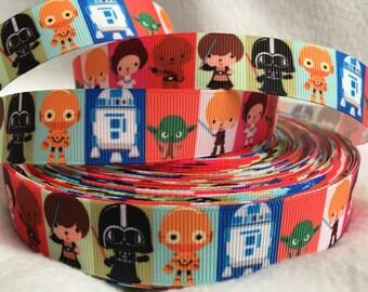 Star Wars Cuties Ribbon, Grosgrain Ribbon, Cute Ribbon, Cutie, Star Wars, Hairbows, Scrapbooking, Lanyard, Luke, Darth Vader, Yoda, R2D2