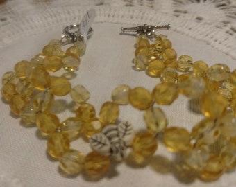 Bee and Honeycomb Beaded Bracelet