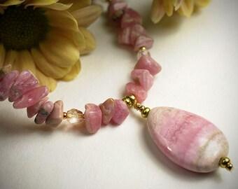 Rhodochrosite gemstone necklace