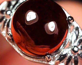 Red Spessartine Garnet Ring 18K White Gold Plated UDSE24