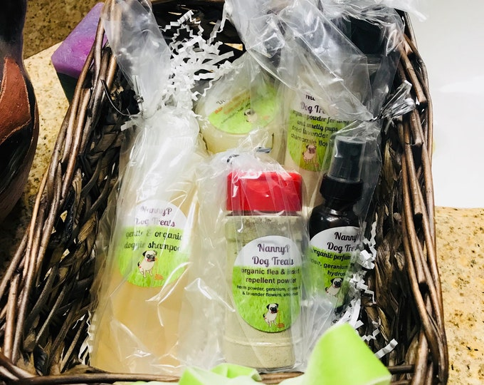 Organic Dog Gift Basket - Shampoo, Perfume, Itch Powder, Skin Salve, Flea Powder - CERTIFIED AROMATHERAPIST