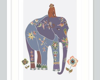 Elephant Safari Jungle Art Print | Monkey Boy Nursery