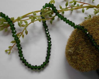 10 glass beads - 6mm / 4mm - dark green faceted - Crystal imitation