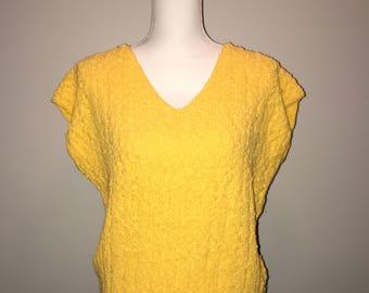 Vintage 80's Yellow Sweater / size medium / by Haberdasher