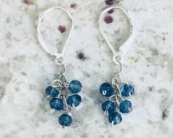 London blue topaz sterling silver dangle earrings