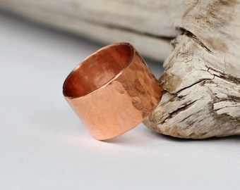 Thick Copper Ring Chunky Hammered Copper Band