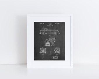Firetruck 1939 Patent Poster, Truck Nursery, Fire Truck Wall Art, Fire Department, Fire Engine, Firefighter Baby, PP0128
