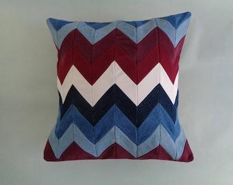 Denim Pillow Cover, Chevron Pillow, Blue Pillow, Red Pillow, Upcycled Denim Pillow, Accent Pillow, Throw Pillow, Living Room Pillow