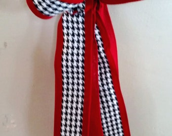 Christmas Bow, Red Bow, Burlap Bow, Hounds tooth Bow