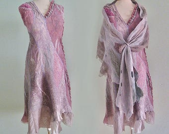 Felted Wool silk boho dress, rose gray dress, art to wear, felted shawl unique couture