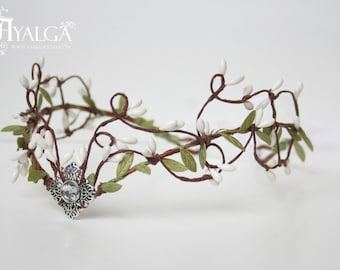 elven forest tiara - elven headpiece - fairy crown- statement jewelry