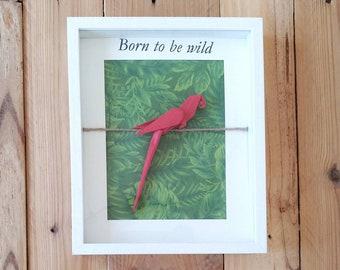 Cuadro loro, cuadro origami, cuadro unicornio de papel, cuadro animales, cuadro animales de papel, cuadro unicornio rosa,regalo niños