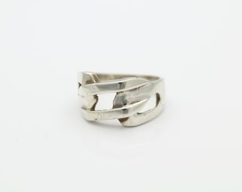 Vintage Sterling Silver Artisan Buff Top Style Ring w Modern Open Design Sz 6.75. [5102]