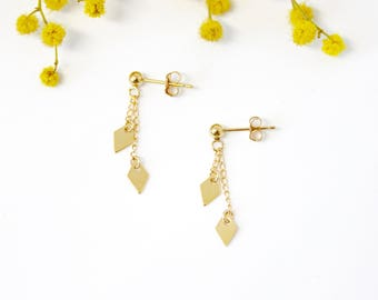 Earrings ADA - Gold - Collection NORAH (minimalist, chip, gold filled, diamond, geometric, marriage, discrete)