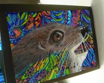 greeting card print of original art-  seal sea lion Zentangle spirit animal