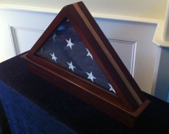 Memorial Flag Display Case with Etched Seal: Cherry Wood with Maple Inlay