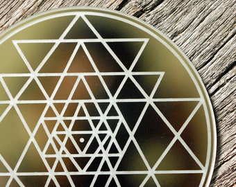 Sri Yantra Mirror | Crystal Grid | Shrine Mirror | Altar Mirror | Meditation Mirror | Sri Chakra Mirror
