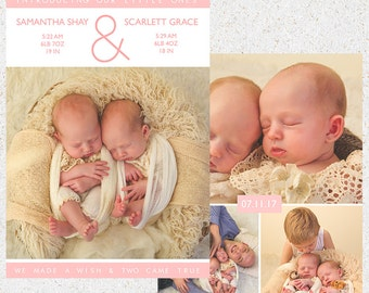 INSTANT DOWNLOAD-Twin Birth Announcement Photoshop Template-n119