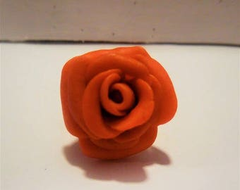 Red rose Adjustable ring polymer clay