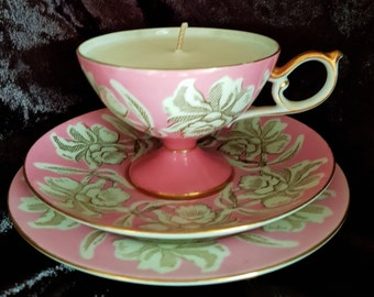 100% all natural soy wax vintage tea cup candle