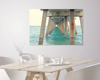 Large Wall Art Beach + Ocean Photography of Turquoise Sea + Juno Pier | Nautical Poster for Coastal Beach House | Beach Lover Gift Under 50