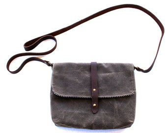 Small Waxed Canvas Purse with Cross Body Shoulder Strap