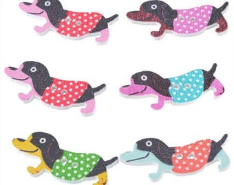 5 large buttons Basset Dachshund dogs - 2 holes - 35x16mm - multicolored