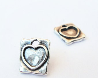 925 sterling silver heart charm, rectangle charm with heart, heart stamped rectangle charm, rectangle , silver heart