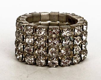 Vintage Diamond Rhinestone Wide Stretch Ring   Adjustable Size