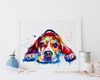 Beagle Dog Colorful Art Print - Print of Original Watercolor Painting