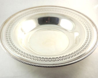 Large Silver Serving Bowl, Silver Plate Wm Rogers Round Fruit Bowl, Ornate Roping 835 Serving Bowl Tray