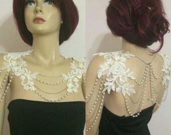 lace shoulder / ivory pearl / shoulder necklace / wedding jewelry / bride shoulder *183