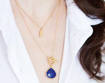 Gold Lapis Gemstone Necklace - Layering Necklace - Toggle Clasp Necklace - Gold framed Gemstone Pendant - Lariat Necklace - Stone Pendant