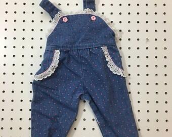 Vintage baby girl denim floral overalls- 6-9 months