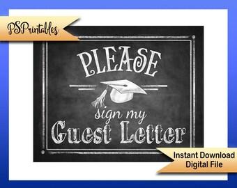 2017 Graduation printable, Sign my Guest Letter, graduation sign, class of 2017, graduation guestbook, Chalkboard Grad sign, DIY Graduation