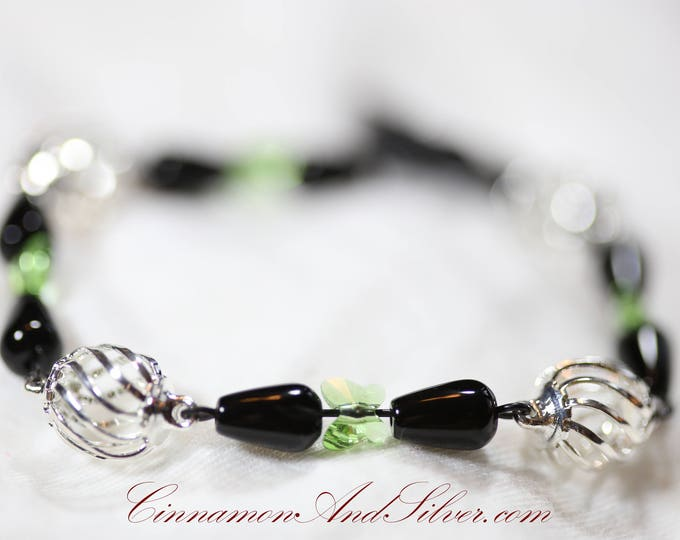 Elegant Asian-Inspired Green Crystal Butterfly and Black Obsidian Gemstone Silver Link Bracelet with Toggle Clasp