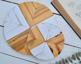 "11"" Geometric Wood Round"