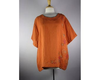 Spa Top Rust Linen w/ Butterfly Art 2X Ready to Ship by Blue Fish Red Moon clothing