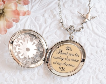 Thank you for raising the man of my dreams Quote Necklace Silver Filigree Locket Mother of the Groom Gift Mother In Law Gift Wedding Jewelry