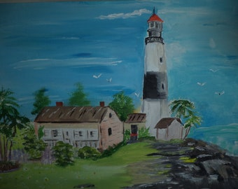 Lighthouse On Cliff Overlooking Calm Sea Painting