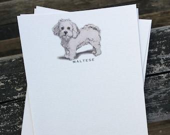 Maltese Dog Note Card Set