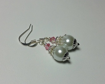 Pink Rose and White Crystal Bridesmaid Earrings