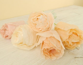 Five pieces of light colored paper roses, paper flowers, tissue paper roses