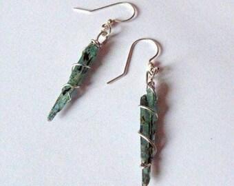 Blue Kyanite earrings, indigo kyanite earrings, kyanite drop earrings, dangle earrings, blue earrings, wire wrapped blue kyanite